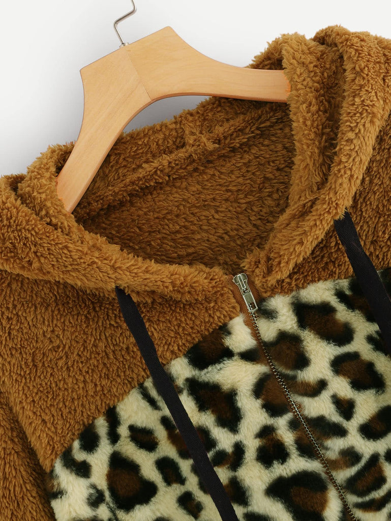 Contrast Leopard Quarter Zip Teddy Hooded Jacket - Kastle-Junction.com