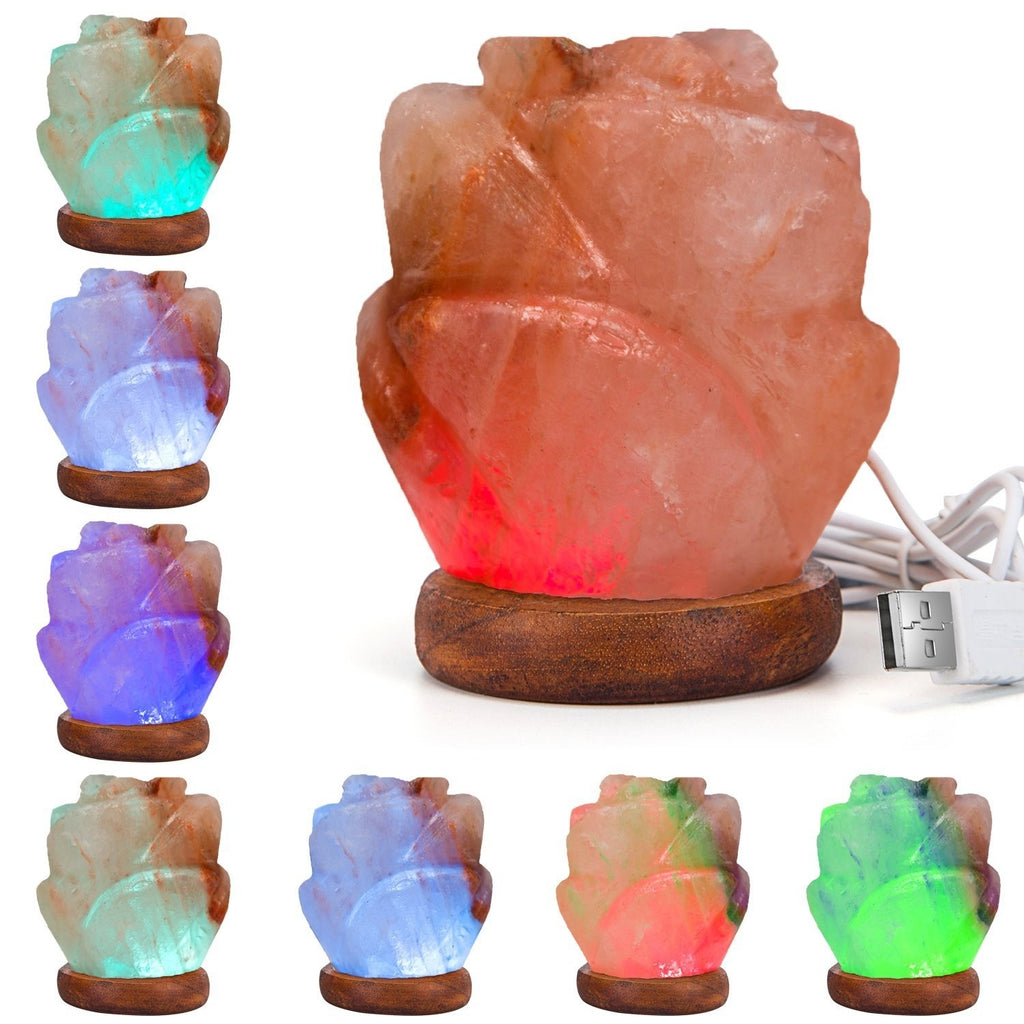 Multi Color Changing Rose Shaped Himalayan Natural Salt USB Lamp - Kastle-Junction.com
