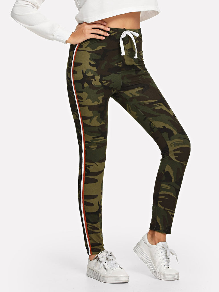 Camouflage Drawstring Waist Tape Panel Side Leggings - Kastle-Junction.com