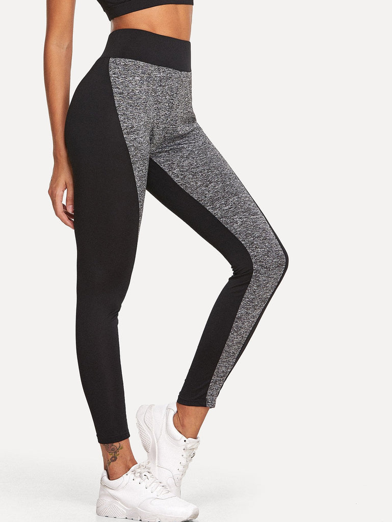 Elastic Waist Color Block Leggings - Kastle-Junction.com