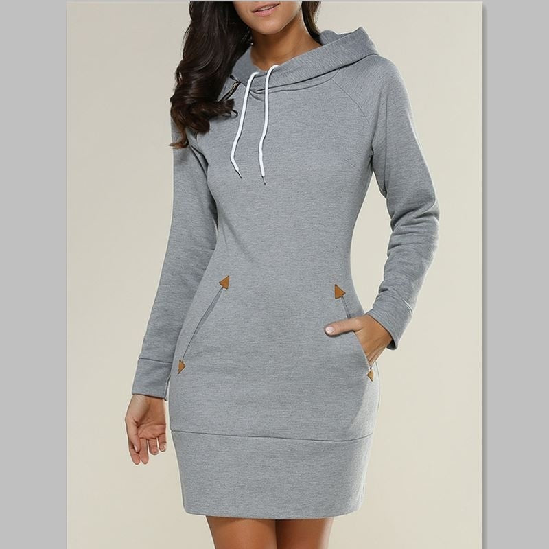 Women's Sweater Dress Ladies Plus Size Hooded Sweatshirt Long Sleeve Sweater Hoodies Jumper Mini Dress Pullover