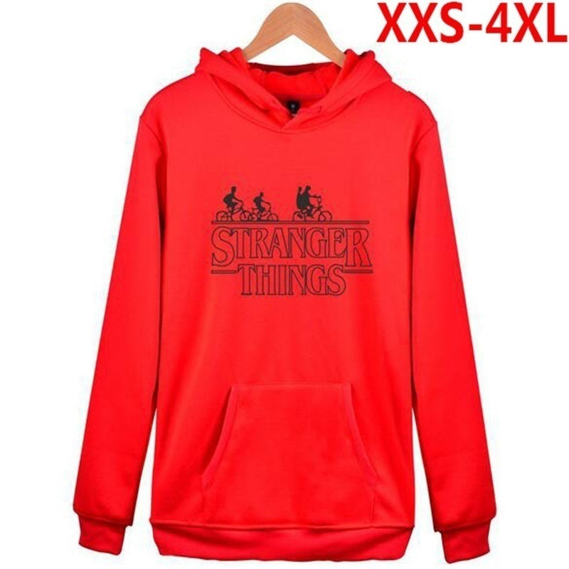 Just Ebuy! Fashion Stranger Things Couples  Unisex Loose Long Sleeve Warm Oversize Pullovers Hooded Cotton Hoodies Sweatshirt Co - Kastle-Junction.com