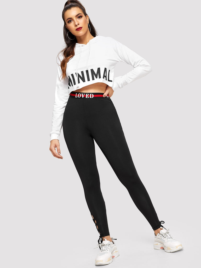 Lettering & Striped Waist Leggings