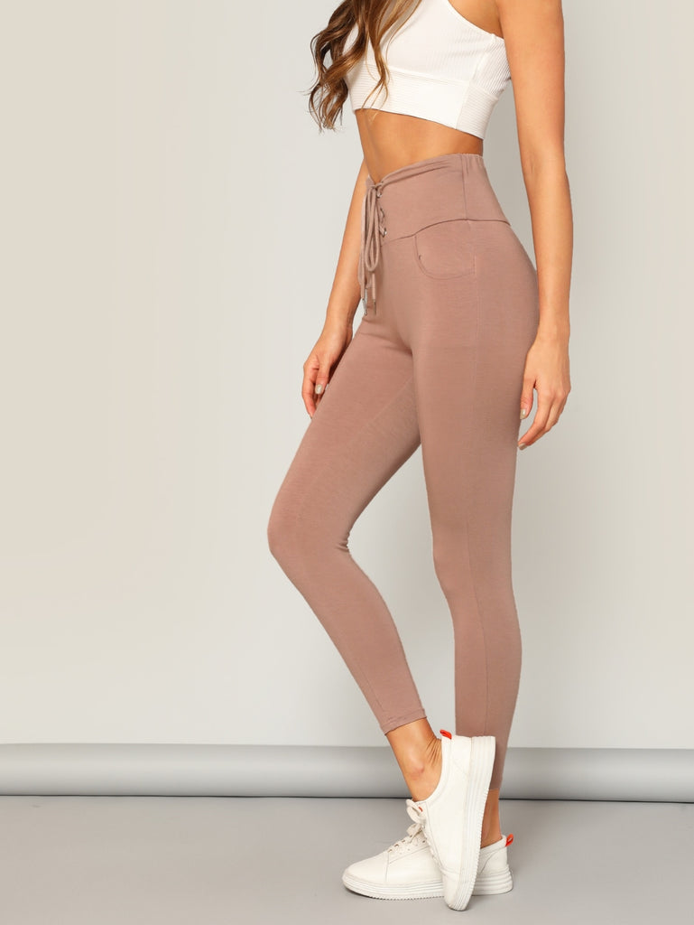 Lace-up Wide Waist Leggings