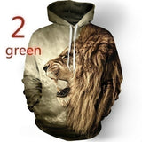 Tiger or Lion 3D Digital Printing Hooded T-shirt  All-match Leisure Hoodies  #1Yellow: tiger  #2Green: lion  #3White