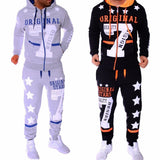 New Fashion Hoodies Set  Suits Hit Color Mosaic Stars Sweater - Kastle-Junction.com