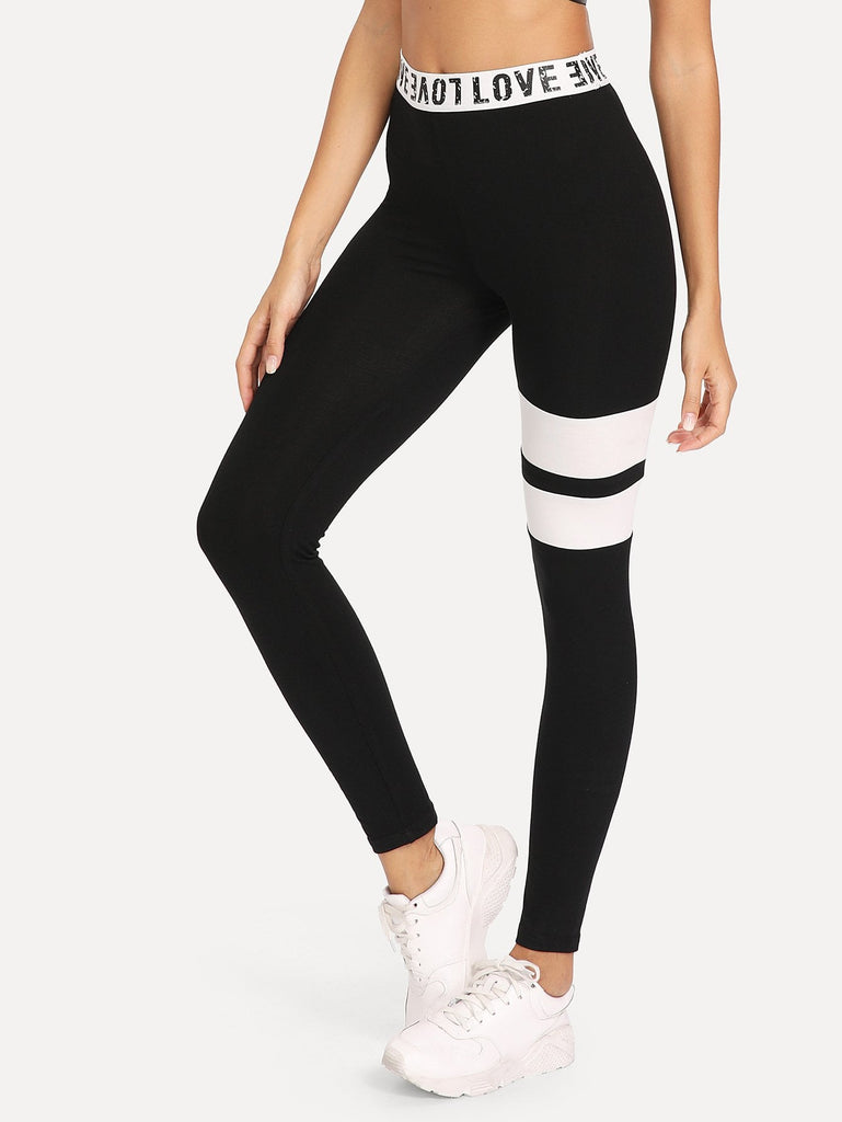 Letter Print Wide Waist Cut and Sew Leggings