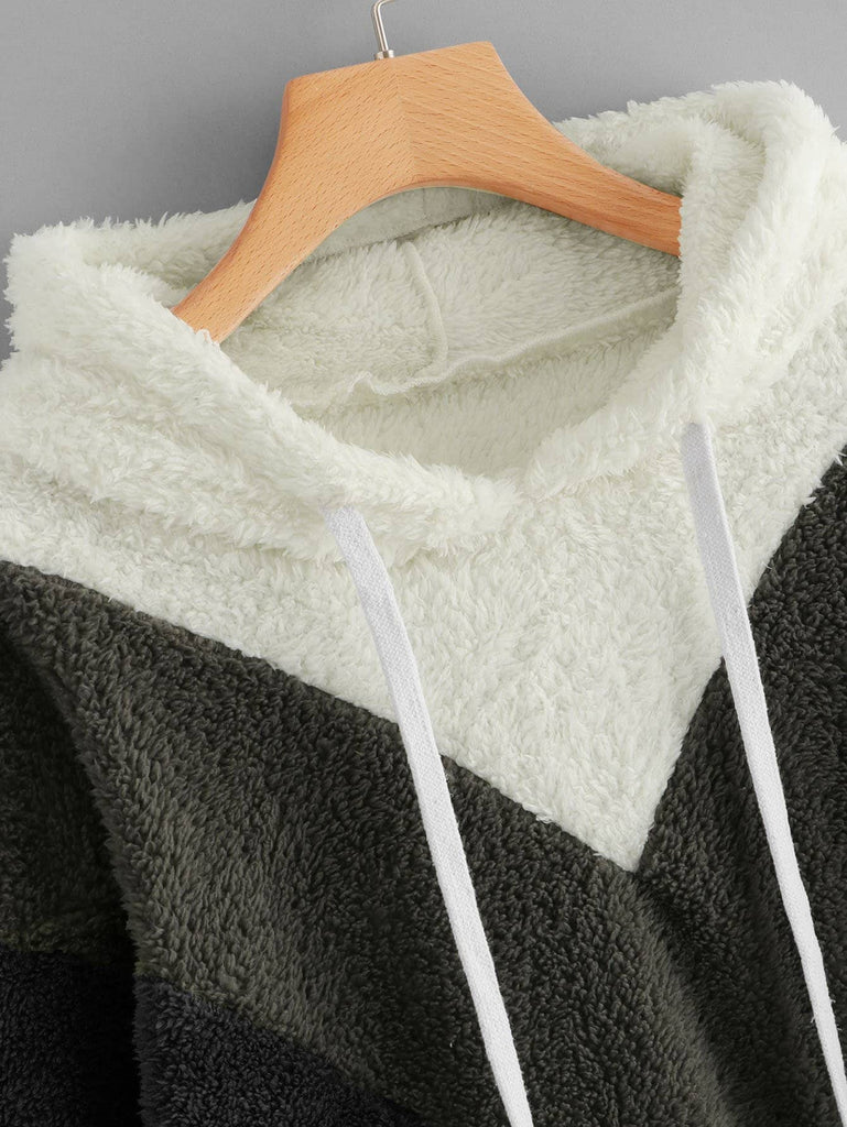 Color-Block Hooded Teddy Sweatshirt - Kastle-Junction.com