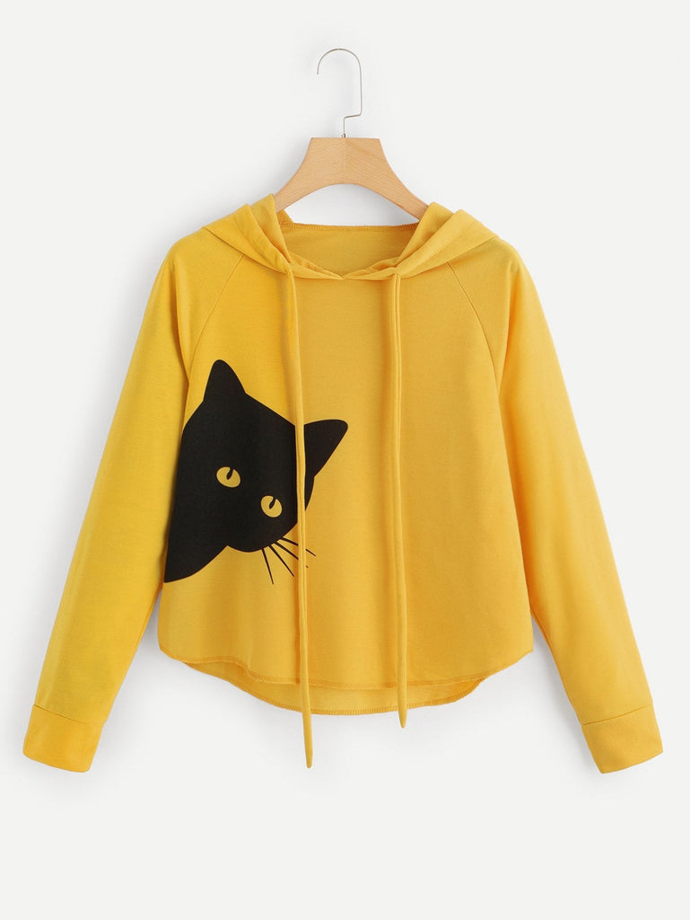 Cat Print Hooded Sweatshirt - Kastle-Junction.com