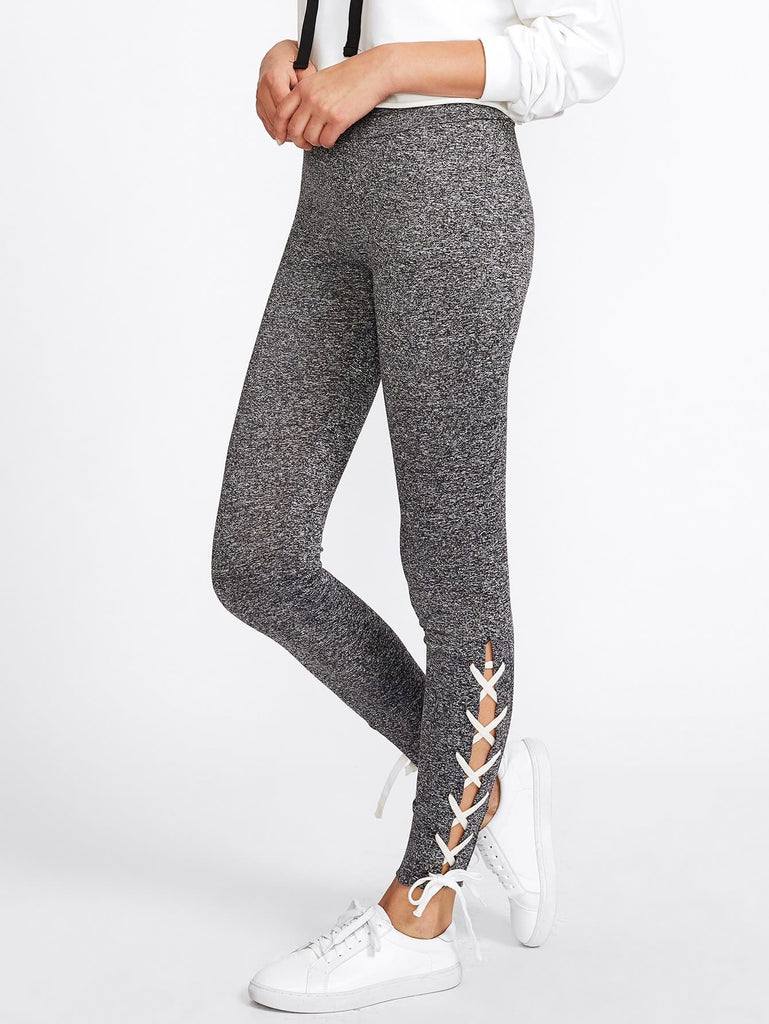 Lace Up Side Marled Knit Leggings