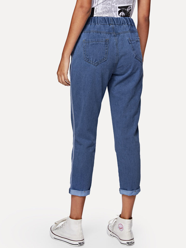 Drawstring Waist Ankle Jeans - Kastle-Junction.com
