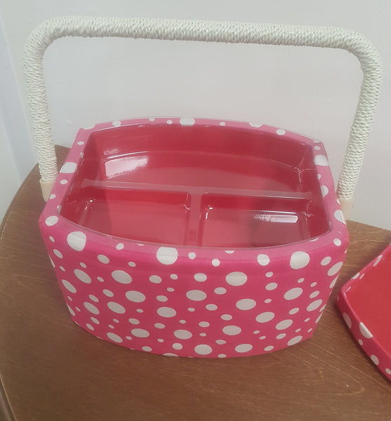 Sewing Box Pink With Cream Polka Dot