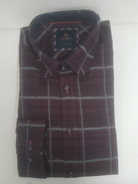 Magee 1866 Rarooey Checked Shirt, Wine Grey stripe