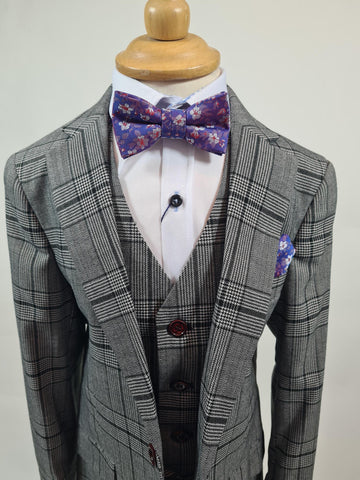 Boys 3 Piece Suit Grey/Black check