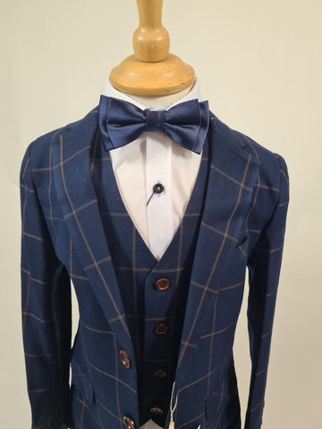 Boys 3 Piece Suit Navy/Brown Check