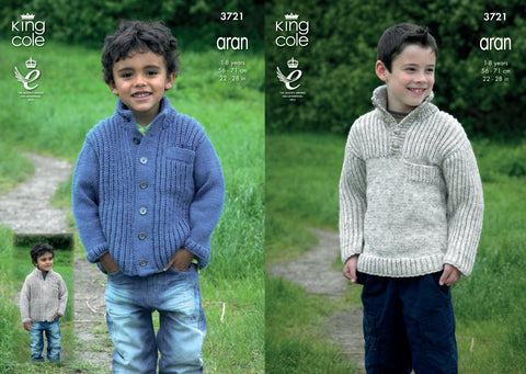 Aran Knitting Pattern 1-8 years 56-71cm 22-28 inchs King cole 3721
