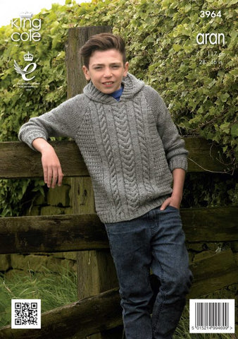 Aran Knitting pattern 71-117cm 28-46 Inch King cole 3964