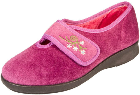Ladies Wide Fitting Velour Slipper Caroline 2 Heather