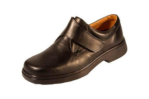 Extra Wide Extra Deep Fitting Black Leather Velcro Close Shoe (Reece)