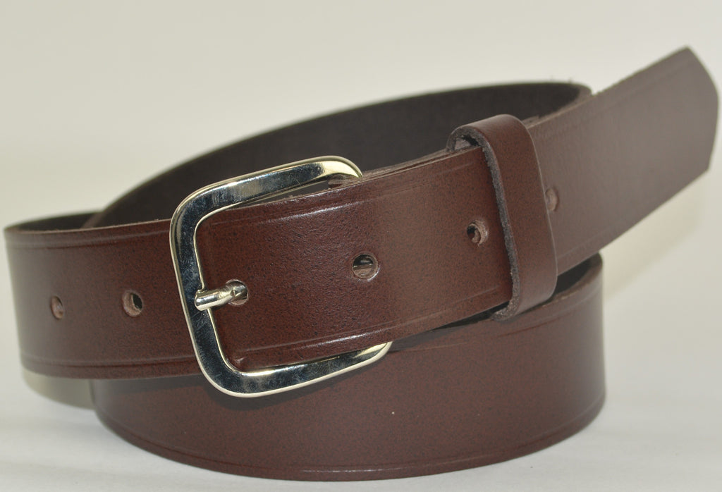 Mans Leather Trouser Belt - Dark Brown