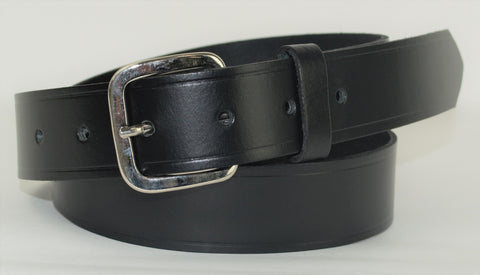 Mans Leather Trouser Belt - Black