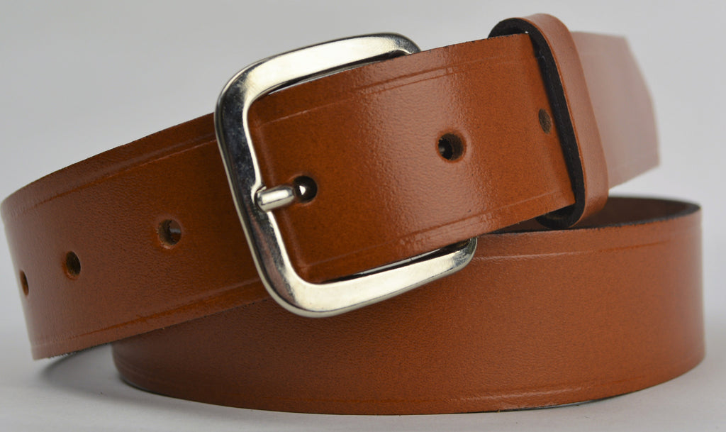Mans Leather Trouser Belt - Tan