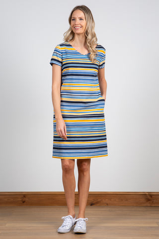 Shift Dress Seastripe- Blue
