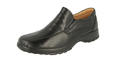 Wide Fitting Black Leather Slip on Shoe (Nelson)
