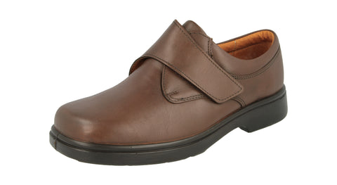Extra Wide Extra Deep Fitting Brown Leather Velcro close Shoe (Reece)