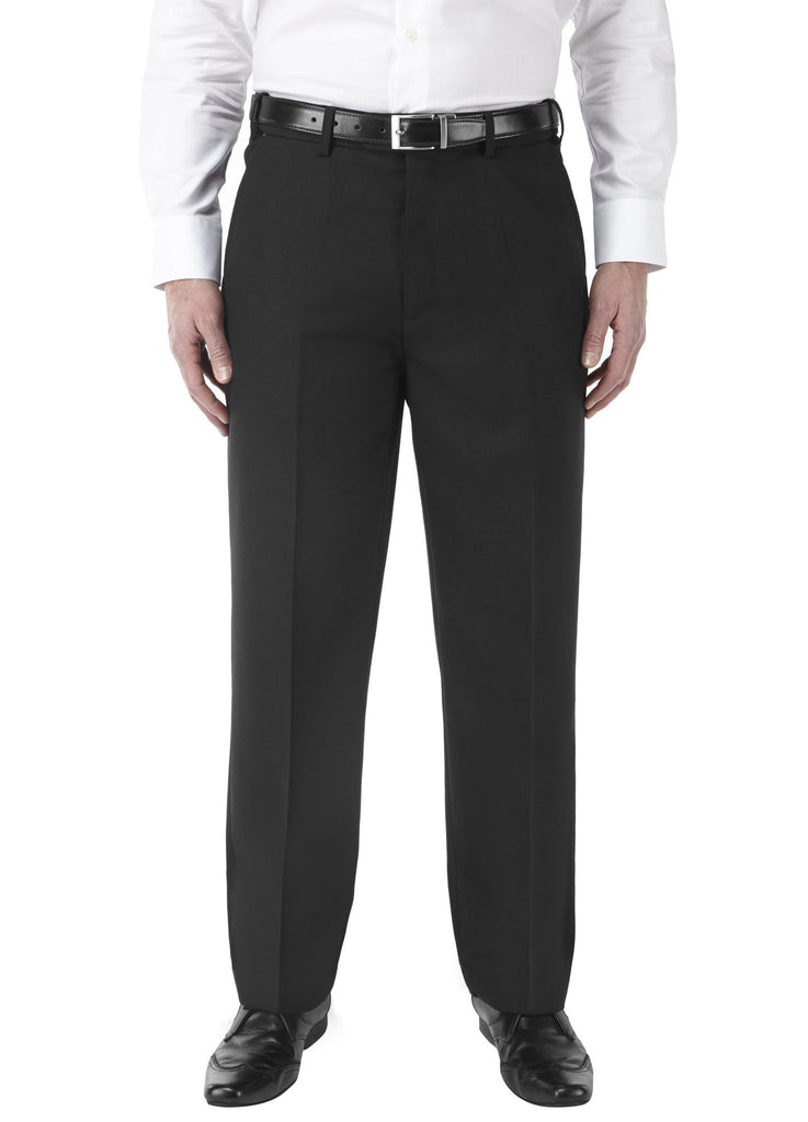 Black Poly Wool Regular Fit Trouser