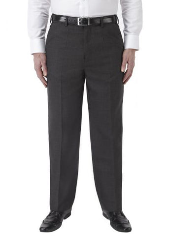 Charcoal Grey Poly Wool Regular Fit Trouser