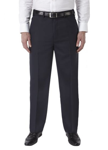Navy Poly Wool Regular Fit Trouser