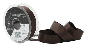Satin Ribbon Col:25 Brown Double Faced Polyester (Sold Per Yard)