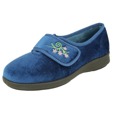 Ladies Wide Fitting Velour Slipper Caroline 2 Navy
