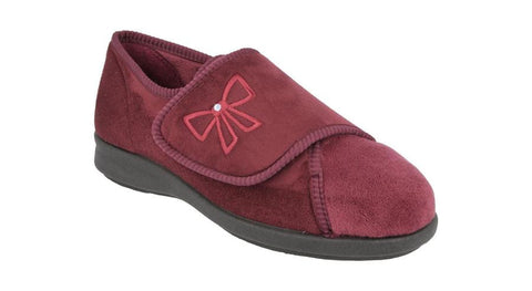 Ladies Wide Fitting Velour Slipper Keeston Burgundy
