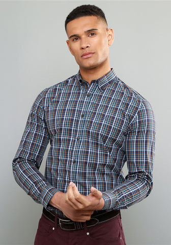 Magee 1866 Rarooey Checked Shirt, Navy with multi coloured