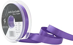 Satin Ribbon Col:19 Purple Double Faced Polyester (Sold Per Yard)