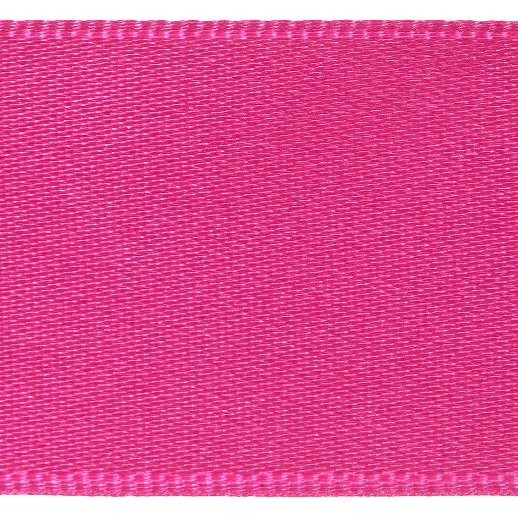 Satin Ribbon Col: 402 Dark Pink Double Faced Polyester (Sold Per Yard)