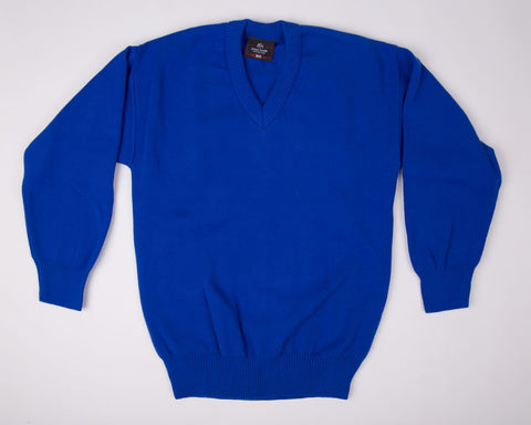 School V Neck Jumper - Royal Blue