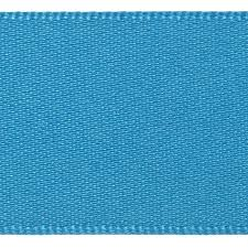 Satin Ribbon Col:4 Turquoise Double Faced Polyester (Sold Per Yard)