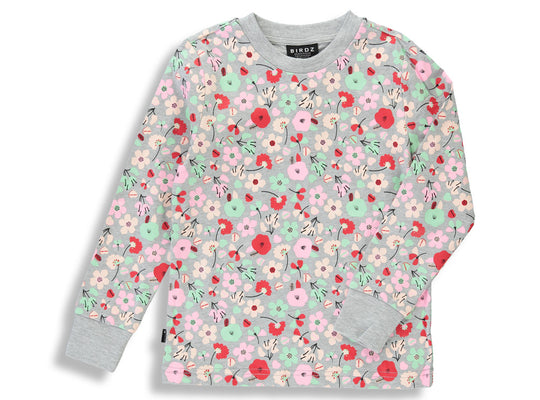 Shop online for this beautiful grey Winter Bloom Long Sleeve Tee, made for girls from BIRDZ. Free shipping on orders over 75$ CA/US. Get 10% off your first order. Order online !