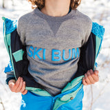 Shop online for this beautiful grey Ski Bum Sweat, made for Boys, by BIRDZ. Free shipping on orders over 75$ CA & over $100 US. Get 10% off your first order. Order online !