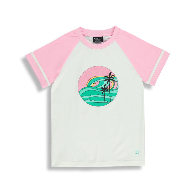 Shop online for this beautiful pink &  white Sunset tee. A tee made for your Girlz, by BIRDZ. Enjoy 10% off your first order. Free shipping on all orders over $75 CAD & over $100 US. Shop online.
