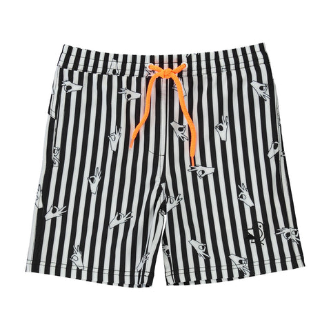 BLACK & WHITE STRIPED SWIM SHORT