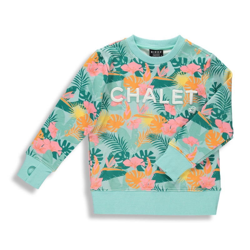 Shop online for this beautiful Tropical Jungle Chalet Sweat  a top for women, made by BIRDZ. Free shipping on orders over 75$ CA & over $100 US. Get 10% off your first order. Order online !