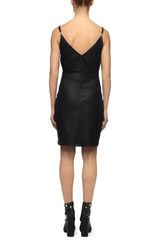 Womens Leather Dress 3 Black
