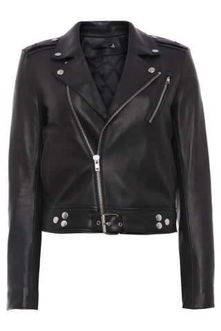 Womens Printed Leather Jacket 1 Black