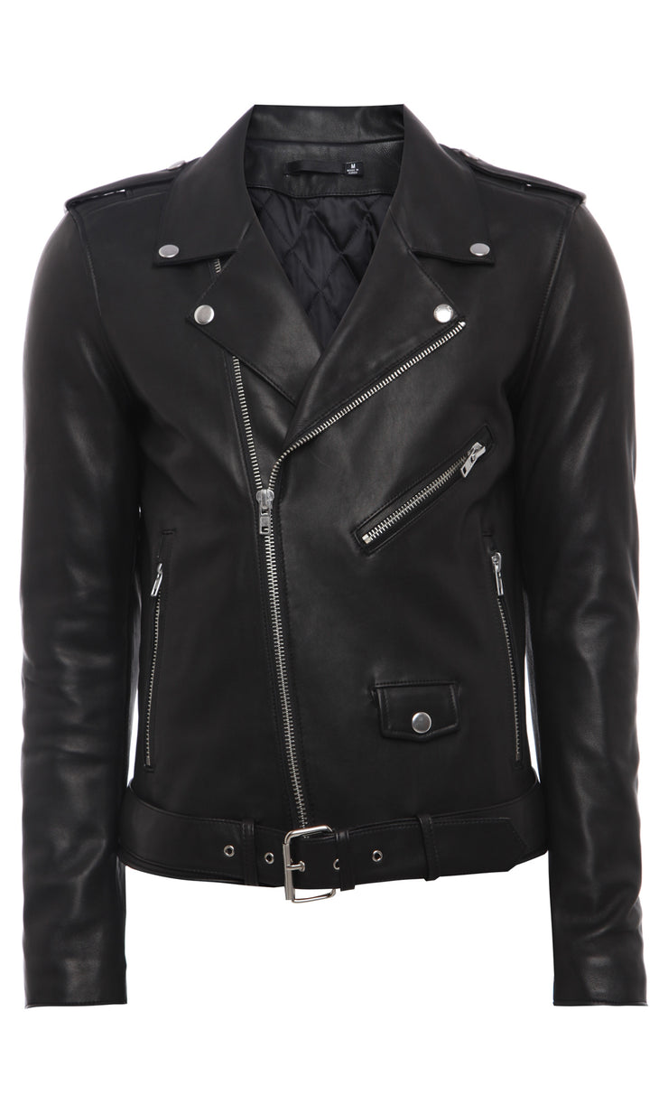 Mens Printed Leather Jacket 5 Black