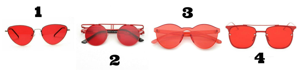 red sunglasses from Own Saviour with free delivery