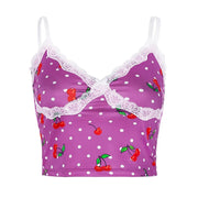 Green/Pink/Purple Cherry Pop Cami Crop - Own Saviour